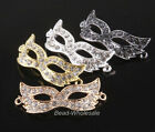 4pcs Curved Crystal Rhinestones Mask Bracelet Connector Charm Side Ways  Beads