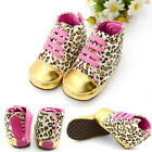 Fashion Leopard Cute Baby Girl Lace-up Crib Walking Sneaker Shoes 3-12M Spring