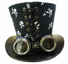 Steampunk skull print tophat with goggles
