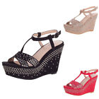 LUXUS NEU DESIGNER DAMENSCHUHE PUMPS 87is STRASS DEKO RIEMCHEN PLATEAU WEDGES 0€