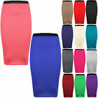 WOMENS LADIES PLUS SIZE STRETCH MIDI PLAIN PENCIL BODYCON OFFICE SKIRT 8-22
