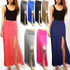 WOMENS LADIES LONG FRONT THIGH SLIT SKIRT SUMMER GYPSY MAXI DRESS PARTY COCKTAIL
