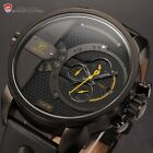 Shark Luxury Men's Oversize Dial Dual Movement 6 Hands Date Leather Quartz Watch