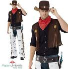 COWBOY Costume Mens Western Wild West stag Fancy Dress Adult Outfit + Hat