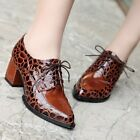 Retro Womens Lace Up Pointed Toe Chunky Heel Platform Pumps Brogue Oxford Shoes