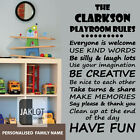 PERSONALISED FAMILY PLAYROOM RULES - Childrens Vinyl Wall Art Sticker