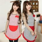 Lady Princess Polka Dot Apron Adult Cooking Kitchen Bib Bow Pocket Dress Uniform