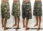 Men's RIO khaki / dark green black cargo camo shorts button fly style MF1323