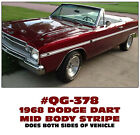 QG-378 1968 DODGE DART - MID BODY SIDE STRIPE KIT
