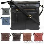 LADIES REAL SOFT LEATHER ACROSS BODY MESSENGER BAG BLACK BROWN TAN BLUE RED GREY