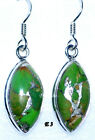 Mojave Green Copper Turquoise 925 Sterling Silver Drop Earrings Genuine Gemstone