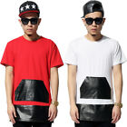 Extended SEVERSEA Long CEASE DESIST Leather Skirt Tee T Shirt 2 Golden Zipper