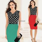 Womens Belted Polka Dot Draped Sleeveless Size Party Ladies Bodycon Dress  WST