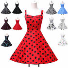 Polka dots/Floral/Cherry Vintage 1950s 1960s Pinup Rockabilly Dancing Tea Dress