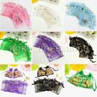 100X Butterfly Drawstring Organza Wedding Gift Bags Jewellery Candy Pouch 7X9cm