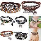 Multilayer PU Leather Beaded Wraps Charms Bracelet Retro Cuff Style Chain NEW