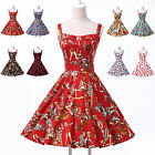 Floral Strappy Vintage Style 1950s Rockabilly Swing Jive Pinup Housewife Dress 1