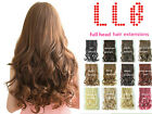 """Full Head Clip in Hair Extensions Curly Wavy Straight Blonde Brown Black 20"""" 22"""""""