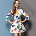 New Spring Fashion Women Bird Floral Print Slim 3/4 Sleeve Ruffle Pleated Dress