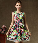 Women summer Print Vintage Casual Floral Short sleeve Party Cocktail Prom Dress