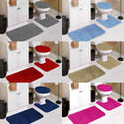 3PC BATHROOM CONTOUR MAT TOILET LID COVER SET SOLID BATHMATS MANY COLOR& STYLES