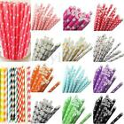 25Pcs Mix Rainbow Paper Drinking Straws Vintage Wedding Party Xmas Decoration