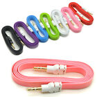 New 3.5mm Male M / M Flat Stereo Audio Jack AUX Cable Cord for PC iPhone iPod MP3
