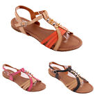 NEW Buckle Two Tone Gladiators Studded Strappy Womens Sandals Flats Size 3-7