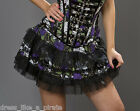 Burleska Sexy Lolita Pirate Skulls & Roses & Tulle Mini Skirt Purple/Black