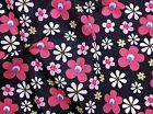Flower Power Floral Polycotton Fabric - NAVY / PINK  Fat Quarters - Metres