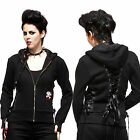 Hell Bunny Black Lace Up Hoodie Gothic Warm Rockabilly Pinup