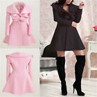 Hot Fashion Womens Ladies Wool flounced Trench Coat Long Winter Fall Jacket Tops