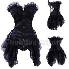 Sexy Black white Women Gothic Bustier Corset Skirt Party Costume Top Dress S-XXL
