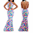 Women Sexy Floral Halter Long Maxi Bodycon Evening Party Gown Bandage Slim Dress