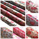 """Rose Fabric Floral Cotton Vintage Shabby Chic Craft 44"""" Metre Blue Pink Ivory"""