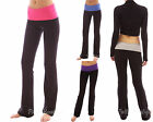 Stretch Color Block Foldover Waistband Bootcut Lounge Sport Yoga Pant