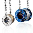Pair Men Couple Lover Stainless Steel Spool Pendant Ball Chain Necklace Set Gift