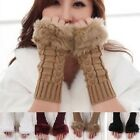 Ladies Women Fingerless Gloves Knitted Warm  Rabbit Fur Long Wrist Winter Wool