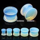 Pair Double Flare Opalite Gem Stone Solid Saddle Ear Tunnel Plugs Expander Gauge