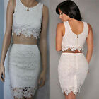 Sexy Womens Two piece Lace Crop Vest Skirt Slim Hip Package Bodycon Party Dress