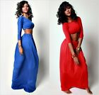 Sexy Bodycon Cropped Top Blouse 3/4 Sleeve+High Waist Maxi Long Pleated Skirt A
