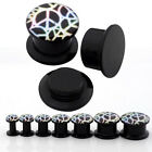 Pair 4-14mm Acrylic Colorful Peace Pattern Screw Flesh Tunnel Expander Plug