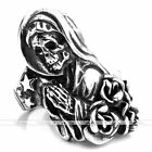 Vintage Demon 316L Stainless Steel Rose Witch Skull Power Ring Gothic Punk Cool