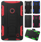For Nokia Lumia 520 GoPhone COMBO Belt Clip Holster Case Phone Cover Kick Stand