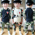 Autumn Boys Child Kids Army Free Badge Camouflage Coat Shirt&Trousers Sets 2-7Y