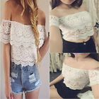 New Fashion Women Sexy Lace Crochet Off-Shoulder Tank Tops T-Shirt Casual Blouse