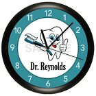 DENTIST OFFICE WALL CLOCK PERSONALIZED GIFT DOCTOR HYGIENIST DENTAL TEETH BRUSH