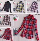 Women Fashion Korean Style Long-Sleeved Casual Cotton Thick Dress Plaid Shirt