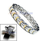 MENS TWO TONE MAGNETIC POWER TITANIUM GOLF BRACELET T14