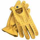 Prime Leather Mens Soft Driving Gloves Retro Style Comfort Chauffeur 7011 Yellow